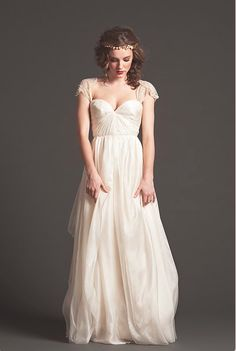 """Graceful"" Sarah Seven #wedding dress @ Lovely. Love the capped sleeves and peach color."