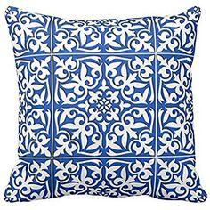 Moroccan tile - cobalt blue and white throw pillow case 18*18