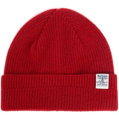Women's Barbour Lambswool Beanie - Red ($33) ❤ liked on Polyvore featuring accessories, hats, barbour, red hat, beanie caps, beanie cap hat and red beanie