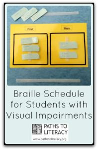 This braille schedule helps young readers to anticipate what will happen next.