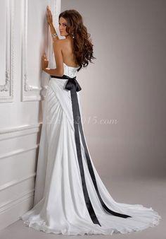 chiffon sweetheart court train column modern wedding dress - dresses-house