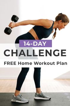 Train like an athlete -- in your own home! This FREE at home workout routine is designed to help women build lean muscle, burn fat and feel STRONG and empowered at home! All you need is 30 minutes a day and a set of dumbbells! 2 Week Workout Plan, 14 Day Workouts, Full Body Workout Plan, Free Workout Plans, Step Workout, Workout Challenge, Summer Workouts, Body Workouts, 30 Minute Workout Video