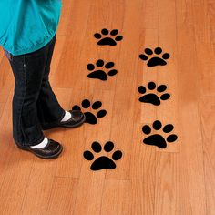 """Paw Print Floor Decals - These vinyl paw print decals cling to any smooth surface, then come off easily after use. 6 1/2"""" x 7"""" $10.99 Per Dozen"""