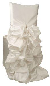 Iridescent Taffeta Diana Chivari Chair Covers – WHITE with Rhinestones.