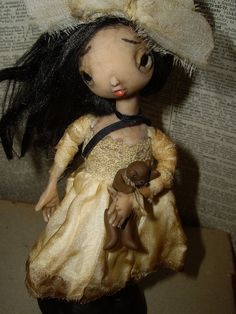 Abbey Soot, hand sculpted from Prosculpt polymer clay goth child art doll