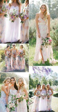 flora print watercolor bridesmaid dresses 2016 trends