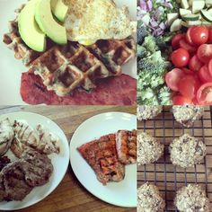 Walnut, dark chocolate oat cookies, savory spinach and cheese waffles, Mexican Grilled Chicken and Quinoa Salad
