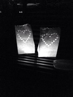 Leaving lanterns for loved ones at Kirkstall Abbey on the walk.