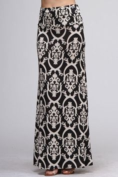 Maxi Skirt Fleur D Lis Maxi Skirt Long Skirt by EverlyStyle