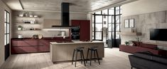Kitchen and Living Room Luxury Kitchen Design, Interior Design Kitchen, Scavolini Kitchens, Study Table Designs, New Home Designs, Kitchen Cabinet Design, Cuisines Design, Apartment Interior, Home Decor Kitchen
