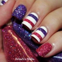 Glittery-striped-nails Glitter Accent Nail Art - Ideas for Accent Nails That Update Your Manicure Get Nails, Fancy Nails, Love Nails, How To Do Nails, Gorgeous Nails, Pretty Nails, Make Up Geek, Do It Yourself Nails, Glitter Accent Nails