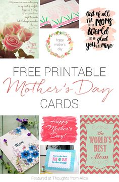 12+ Free Printable Cards for Mother's Day!
