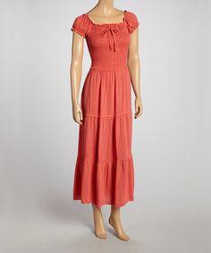 Coral Peasant Maxi Dress