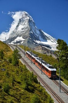 Swiss train with the Matterhorn in the background