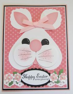 handmade Easter card ... punch art bunny head on pink polka dot paper ... sweet hear face ... delightful!