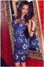 BLUE Fashion Women Sexy Ladies Club Party Evening Bodycon Pencil Lace Dress: S