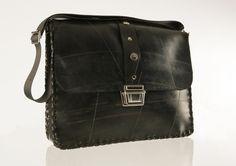Katcha Bilek: Ewan Laptop Bag. Ethical, Recycled, rubber, black, inner tube hand bag. Waterproof.. £81.71 via Etsy.