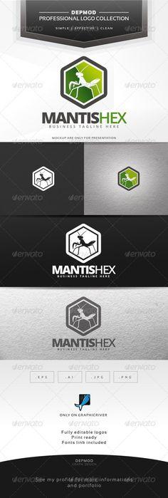 Mantis Hex  Logo Design Template Vector #logotype Download it here: http://graphicriver.net/item/mantis-hex-logo/6839629?s_rank=551?ref=nexion