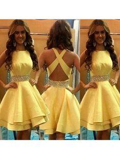 A-Line/Princess Sleeveless Scoop Beading Satin Short/Mini Dresses