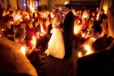 wedding guests with candles  ... great ideas for how to make secular ceremony special