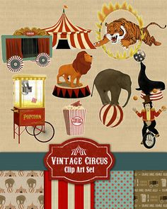 Circus Clip Art - Vintage Circus Clipart Highly Detailed with lion, seal, elephant, tiger and tent. Etsy.com