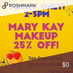 """2-3pm CST 10/24 Includes: All Mary Kay products in my shop (bags, starter kit contents, and make up)  From: 2-3pm CST, 10/24 only!  To claim: Comment """"@jayzimmer3 Sold!"""" and make an offer for the 25% off price i have listed in the title.. (I will Round up to the dollar for 50 cents or more, down to the dollar for 49 cents and under)  Tonight I will go through and accept your offers! All items will ship tomorrow!   If you bundle you will still get the bundle discount! :D Mary Kay Makeup"""