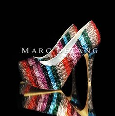 Multicolor stripes Luxury platform heels.  Bridal shoes by MDNY