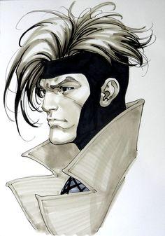 Gambit by David Yardin More X-Men Marvel Comics, Gambit Marvel, Gambit X Men, Rogue Gambit, Marvel Heroes, Anime Comics, Comic Book Characters, Marvel Characters, Comic Character