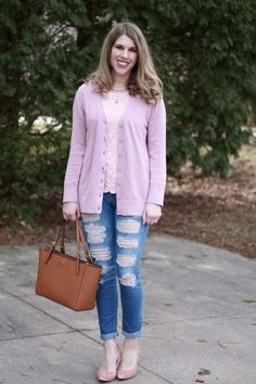 Blush and light pink are great spring colors that can be dressed up or down! Blogger I Do DeClaire paired a lacy top with a cardigan for a casual yet put together outfit.