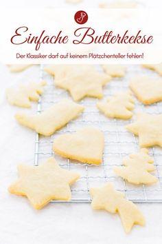 Kekse Rezepte, Plätzchen Rezepte: Rezept für Butterkekse zum Ausstechen. Kekse, ganz einfach und nicht nur für Weihnachten. Backen mit Kindern macht mit diesen Keksen SpaßSchnell, einfach und lecker - ein echter Klassiker! #kinder #kekse #plätzchen #weihnachten #advent #deutsch #backen