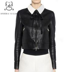 34fd706cc24 New Valentino Contrasting Collar Nappa Leather Jacket online