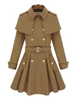 Woman Double Breasted Light Tan Trench Coat with Shawl | martofchina.com