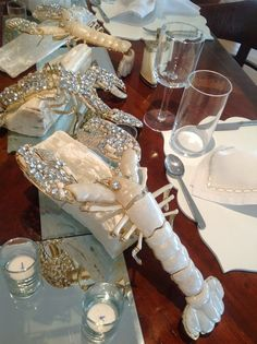 Kara Ross's Rock Lobsters made of pearl resin and crystals.   Elegant whimsey.