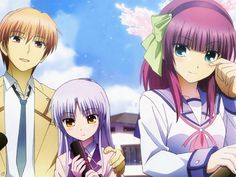 Angel Beats - Otonashi, Kanade, and Yurippi