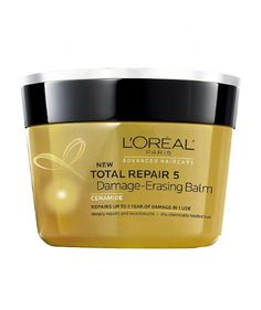 Nothing beats L'Oréal Paris Total Repair 5 Damage-Erasing Balm—especially for the price ($6, drugstore.com). It has a thick, frosting-like consistency that spreads easily, smells delicious, and leaves my hair super soft.
