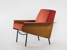 G10 Lounge Chair, 1954 Molded wood panels with oak veneer, black painted metal legs, foam, fabric  Edition Airborne 1954 Demisch Danant - Pierre Guariche