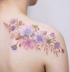 Delicate Floral Tattoo Designs by Tattooist Silo - TattooBloq floral tattoo designs - Tattoos And Body Art Delicate Flower Tattoo, Flower Tattoo Arm, Flower Tattoo Shoulder, Tattoo Flowers, Floral Tattoo Design, Flower Tattoo Designs, Tattoo Designs For Women, Pretty Tattoos, Beautiful Tattoos