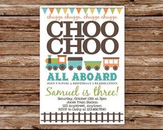 DIY Printable Choo Choo Train Birthday by thepaperblossomshop, $16.00