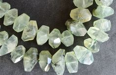Faceted Prehnite Stone Nugget Beads, Stone Nuggets (3 beads) Green Prehnite Beads Stone, Gemstone, 15-25mm, Green Stone Hand Cut Nuggets by TheBeadBandit on Etsy