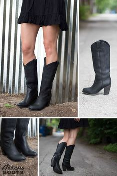 Simple, black, Frye cowgirl boots. The high heel on this boot makes it super sexy!