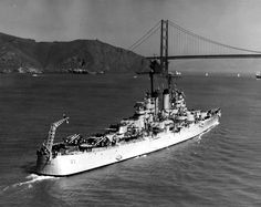 USS Manchester, a Cleveland Class light cruiser originally launched from Fore River Shipyard at Quincy, Massachusetts by Bethlehem Steel Corp. in 1945; seen here heading into San Francisco Bay.