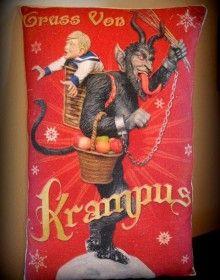 Christmas German Evil Bad Santa Claus Krampus pillow naughty children antique old vintage folklore fairy tale winter