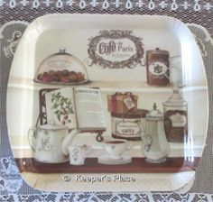 Shabby French Café de Paris Coffee Tea Sweets Square Melamine Resin Tray New