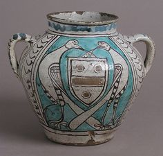 Two-Handled Jar with Birds and a Coat of Arms, early 1400s, made in Florence (Tuscany, Italy), tin-glazed earthenware -- Arms: unidentified: arg., a fesse between three roundels sable, 2 and 1.