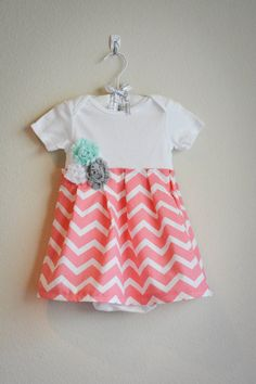 Coral chevron infant dress with mint and gray fabric flowers, shabby chic baby clothing, boutique style clothing