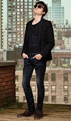 Black tailored jacket, black T-shirt, dark blue jeans and black shoes byBOSSOrange