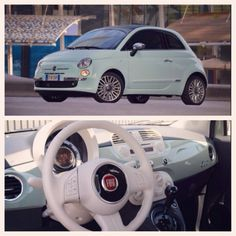 Mint green fiat 500. Cars are not my thing but this one I love <3