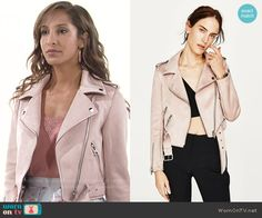 Lily's blush leather jacket  on The Young and the Restless.  Outfit Details: https://wornontv.net/70152/ #TheYoungandtheRestless