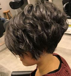 I don't like this one pictures. Dont like the staight stacked back.Curly Layered Pixie Bob Hairstyles for Spring 2018 Pixie Bob Hairstyles, Short Hairstyles For Thick Hair, Haircut For Thick Hair, Short Hair With Layers, Short Pixie Haircuts, Short Hair Cuts, Bob Haircuts, Hairstyles 2018, Pixie Cuts