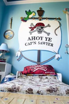 ⚓ Piratenzimmer: Turn your bed into a pirate ship with the Ahoy Ye Matey Bedhugger Paint-by-Number Wall Mural Pirate Bedroom Decor, Bedroom Themes, Kids Bedroom, Boys Pirate Bedroom, Pirate Theme, Kids Decor, Boy Room, Decoration, Wall Murals